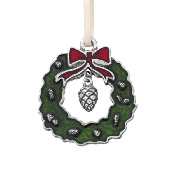 Green Wreath & PInecone Ornament, Pewter