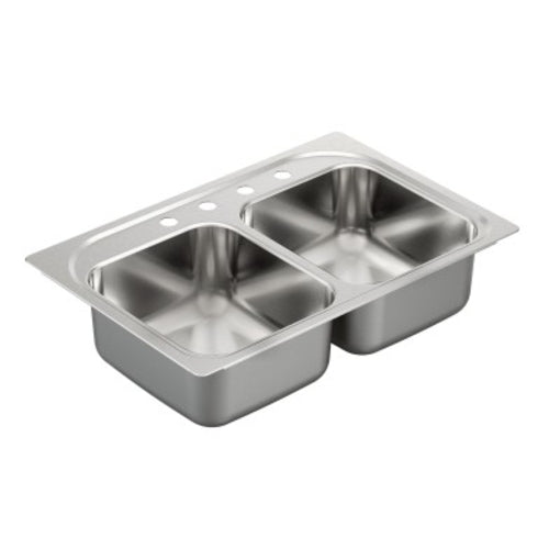 Moen Double Bowl Drop In Stainless Steel Sink