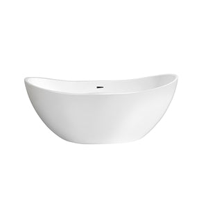 White AVA Freestanding Bathtub with Chrome Trim