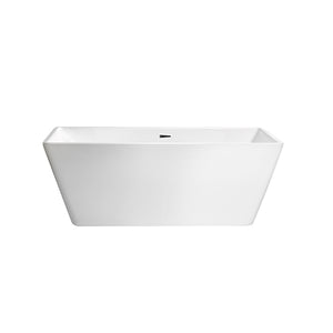 White GRETA  Freesstanding  Bathtub with Chrome Trim