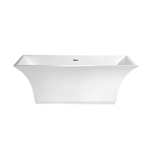 White JAYNE  Freesstanding  Bathtub with Chrome Trim
