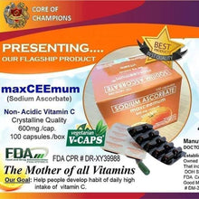 Load image into Gallery viewer, SODIUM ASCORBATE MaxCeemum NON-ACIDIC VITAMIN C (100 Capsules/Box) 600mg