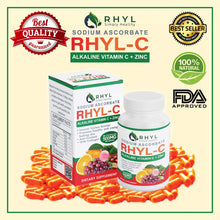Load image into Gallery viewer, RHYL C SODIUM ASCORBATE 500MG 100 Capsule/Box VITAMIN C with Zinc, Collagen, Malunggay, Camu-Camu & Grapeseed. Made from top of the premium 100% All Natural and Organic. Good for Kids and Adults. Boost Your Immunity