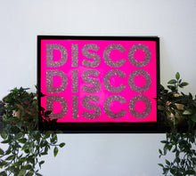 Load image into Gallery viewer, Neon Pink & Silver Glitter DISCO DISCO DISCO