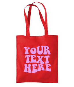 Custom Retro Text Tote Bag