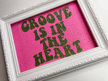 Load image into Gallery viewer, Groove Is In The Heart Pink & Green Glitter Print
