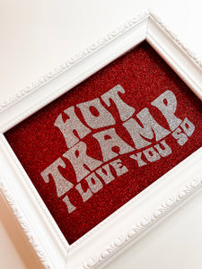 Hot Tramp I Love You So Red & Silver Glitter Print