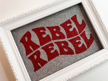 Load image into Gallery viewer, Rebel Rebel Silver & Red Glitter Print