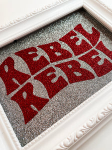 Rebel Rebel Silver & Red Glitter Print