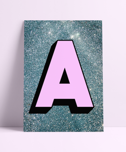 Personalised Blue Glitter Background Initial Wall Print