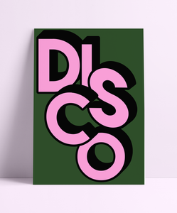 DISCO Green & Pink Wall Print