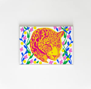 Floral Neon Leopard Wall Print