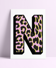 Load image into Gallery viewer, Personalised Pink Leopard Initial Wall Print