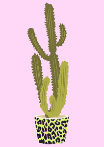 Leopard Print Potted Cactus Wall Print