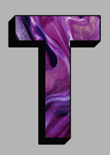 Load image into Gallery viewer, Personalised Purple Marbling Initial Wall Print