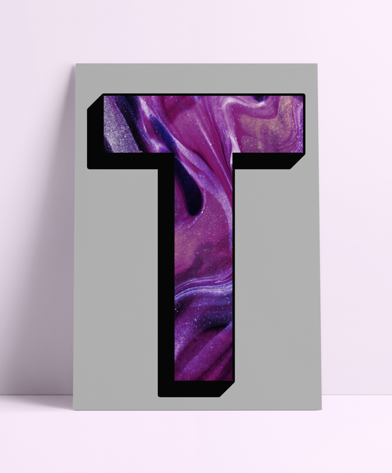 Personalised Purple Marbling Initial Wall Print