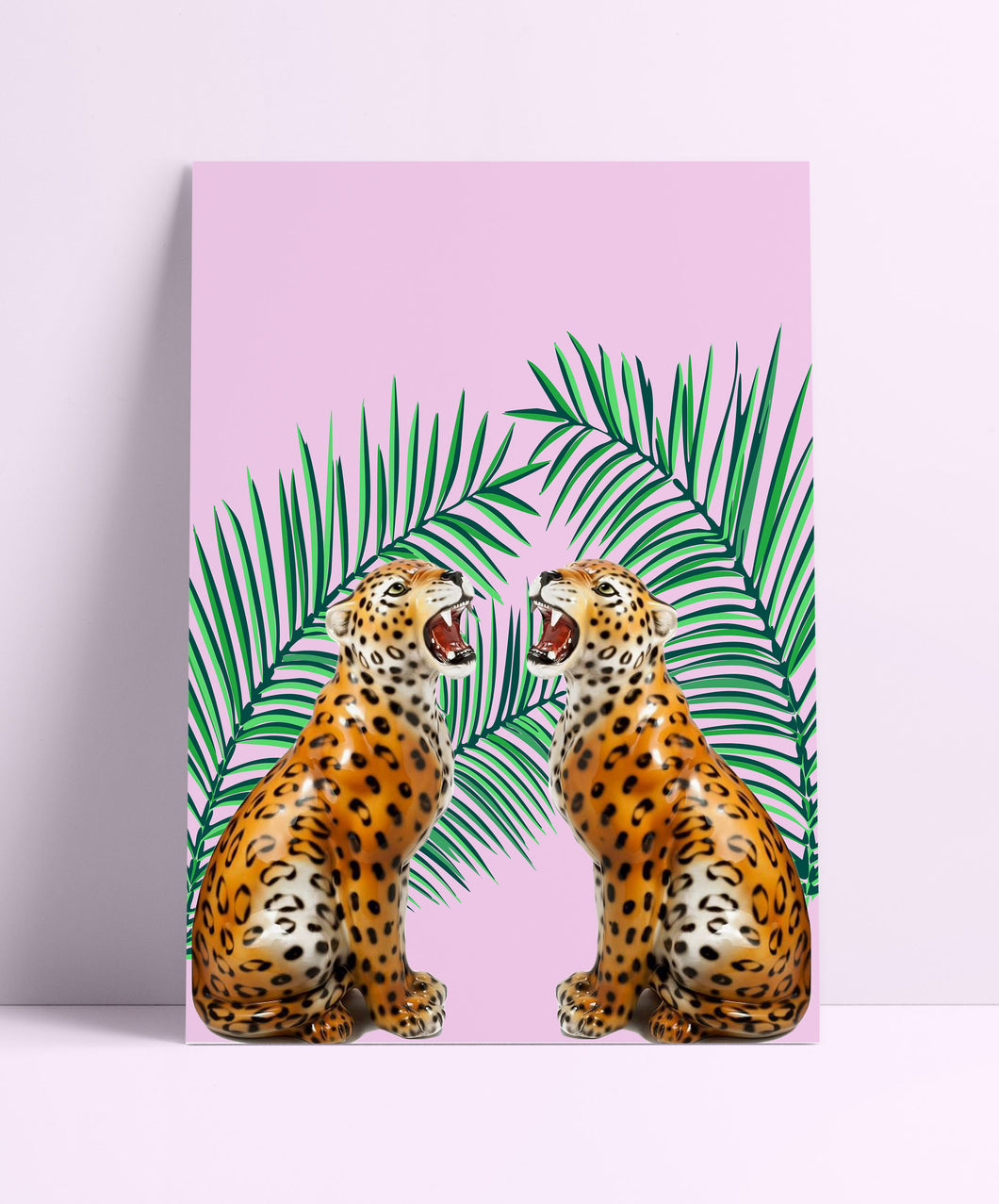 Retro Tropical Leopard Wall Print