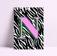 Load image into Gallery viewer, Personalised Zebra Print Initial Wall Print