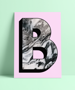 Personalised Black & White Marbling Initial Wall Print