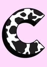 Load image into Gallery viewer, Personalised Cow Print Initial Wall Print