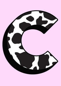 Personalised Cow Print Initial Wall Print