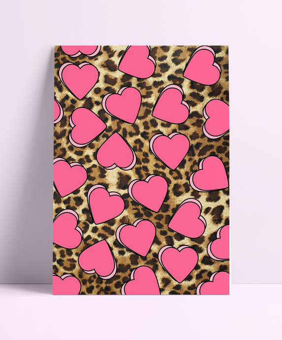 Repeat Heart Pattern Leopard Wall Print