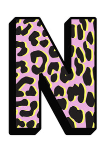 Personalised Pink Leopard Initial Wall Print