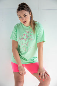 Mint Green Neon Floral Tee
