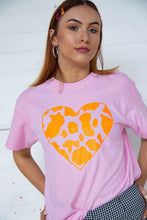 Load image into Gallery viewer, Neon Orange Cow Print Heart Tee