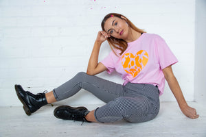 Neon Orange Cow Print Heart Tee