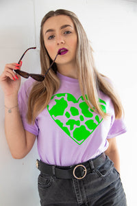 Neon Green Cow Print Heart Tee