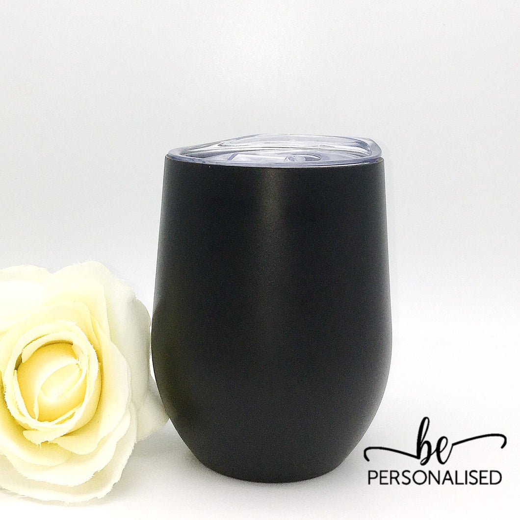 Plain Coffee/Wine Insulated Tumbler - Black