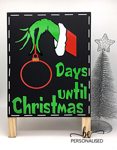 Christmas Countdown Chalkboard - Grinch Hand