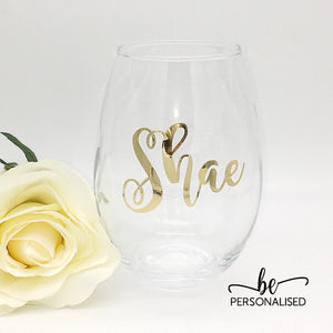 Teardrop Glass Tumbler - Metallic Personalisation