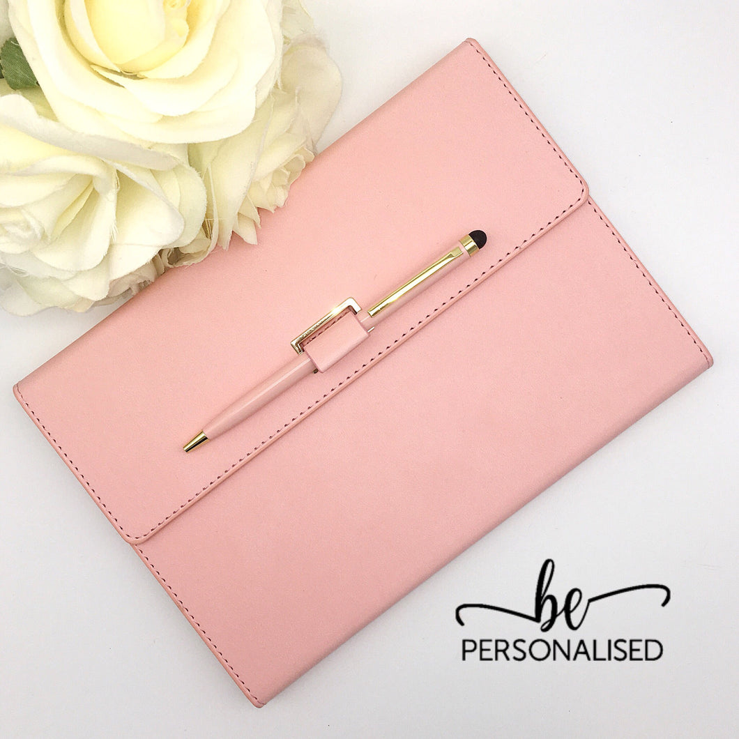 Light Pink PU Leather A5 Notebook with pen