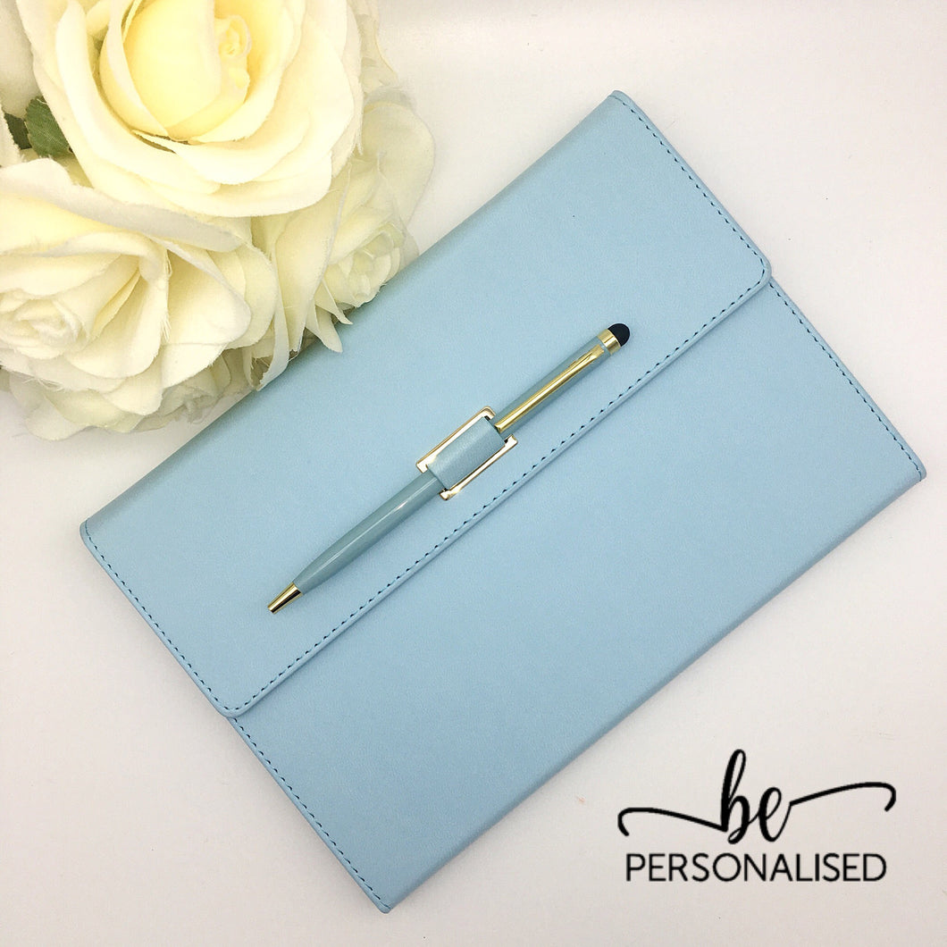 Light Blue PU Leather A5 Notebook with pen