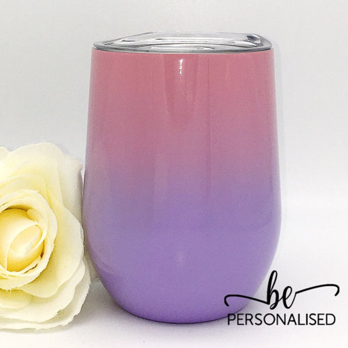Two Tone Coffee/Wine Insulated Tumbler - Pink and Purple