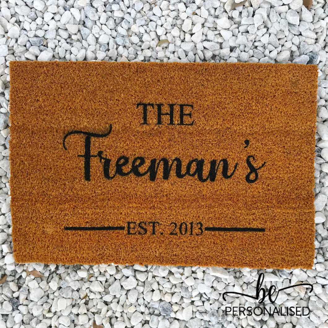 Personalised Door Mat - Family Name + Yr Established