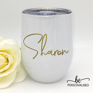 Shimmer Coffee/Wine Insulated Tumbler - White