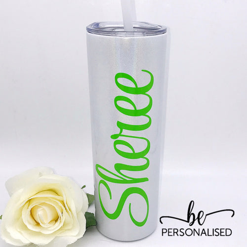 Tall Insulated Tumbler - White Shimmer