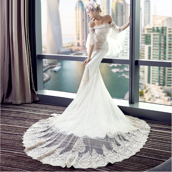 The Angelique  Vintage Style Off Shoulder Antique Lace Mermaid Wedding  Gown