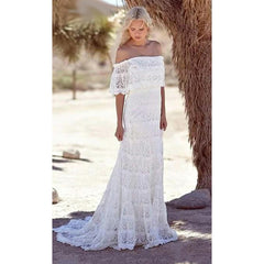 Style 1118 The Deena Boho Off Shoulder Lace Wedding Gown Up To 26 W