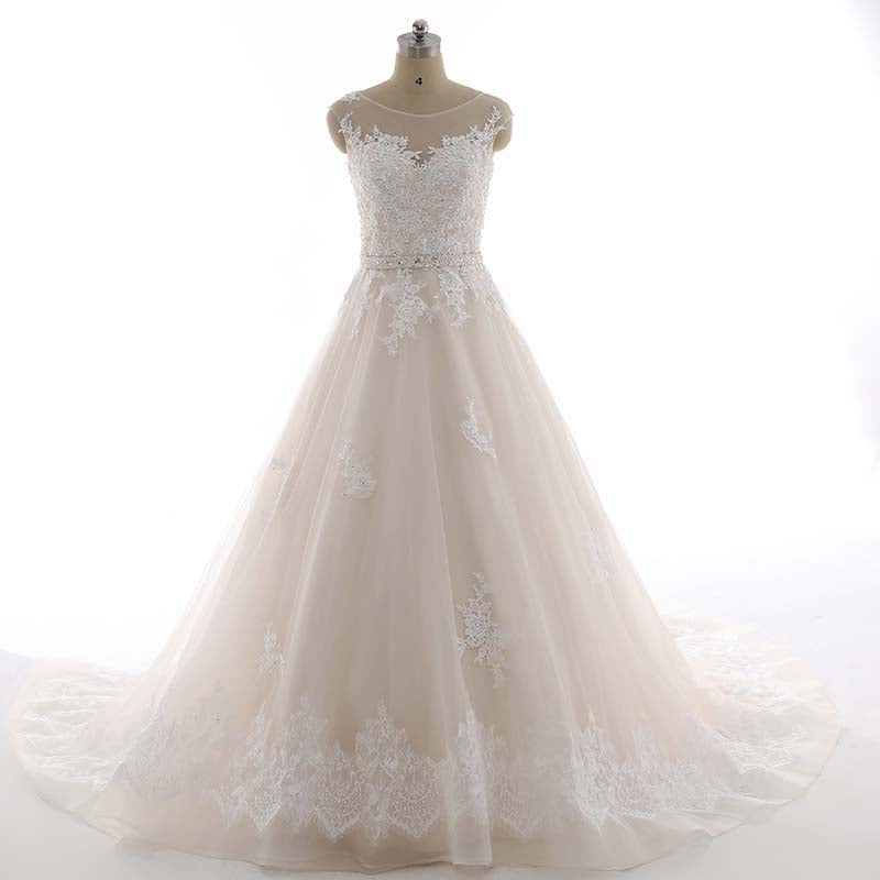 The Elizabeth :: Hand Beaded with French Lace Appliques – Ball Gown ...