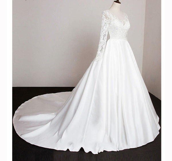 The Eva  Vintage Style Long Sleeve Lace \u0026 Satin Wedding Gown