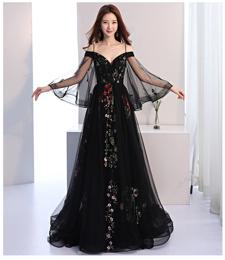 The Eve :: Floral Embroidered Black Tulle Wedding Gown – Broke Bride ...