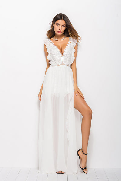 Destination Wedding Dresses.The Mila Boho Sexy Lace Chiffon Destination Wedding Gown