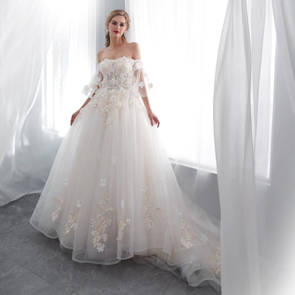 77c26ad92d41 The Poppy    3D Lace Off Shoulder Bell Sleeve Corset Back Ball Gown Style  Wedding