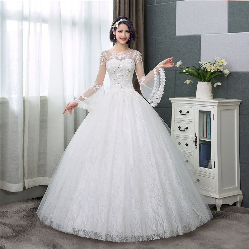 The Scarlet :: Lace Bell Sleeve Corset Back Ball Gown Style Wedding ...