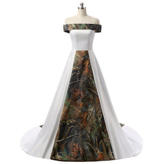 Camouflage Wedding Dresses.The Shola Off Shoulder Camouflage Wedding Dress
