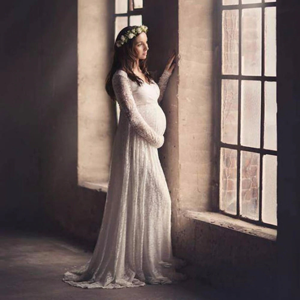 ff557c90f0582 Style 2312 - Maternity Collection - Lace Long Sleeve Sheath Style Wedding  Dress
